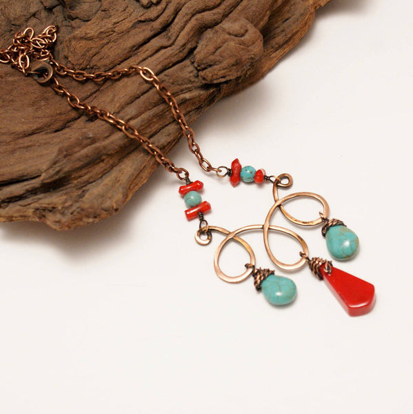 Handmade Turquoise and Red Statement Necklace