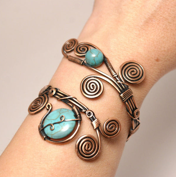 Handmade Wire Wrap Turquoise Cuff Bracelet