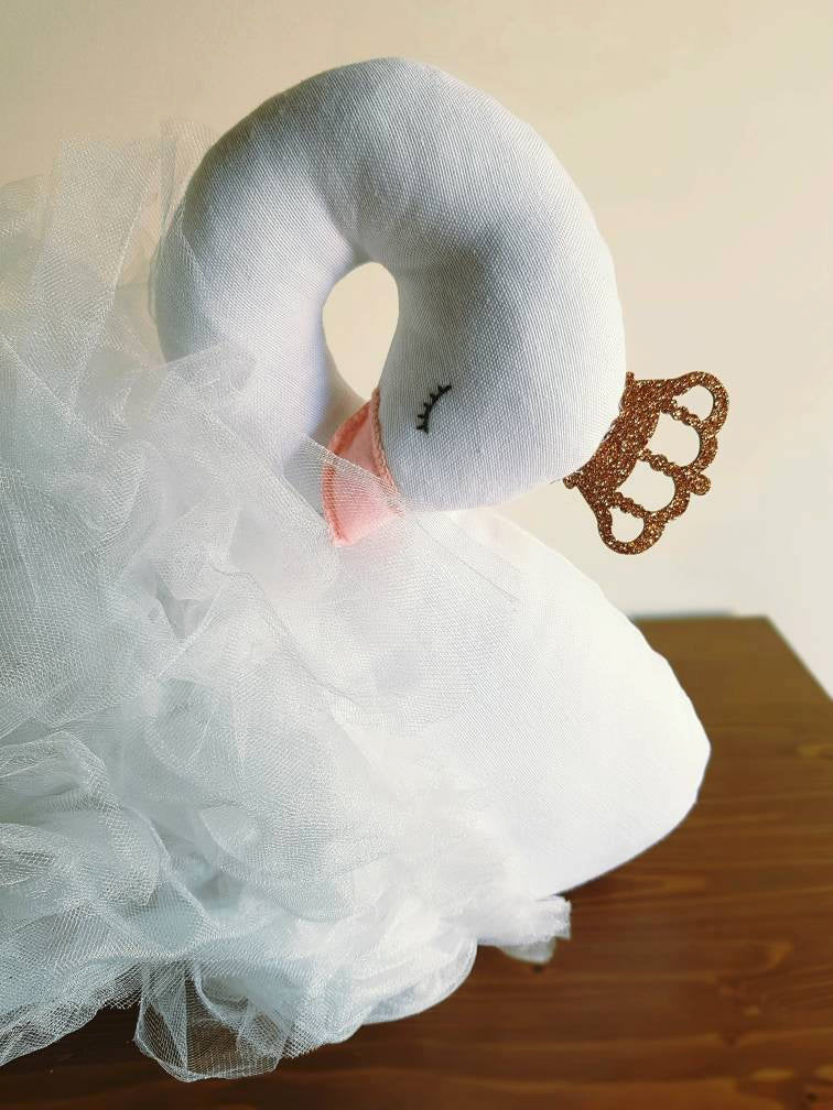 Handmade Big Swan Doll stuffed swan plush Nursery decor Wedding decor - Babazen