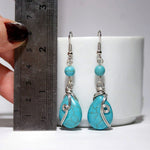 Handmade Turquoise dangle drop wire wrap earrings - Babazen