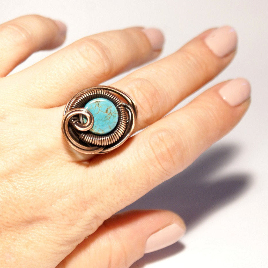 Handmade wire wrap Turquoise Ring - Babazen