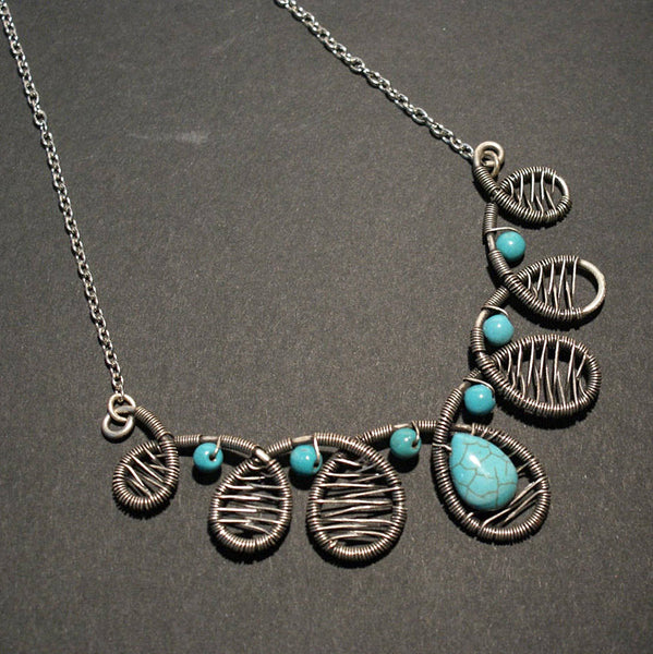 Handmade Wire Wrap Turquoise Statement Necklace
