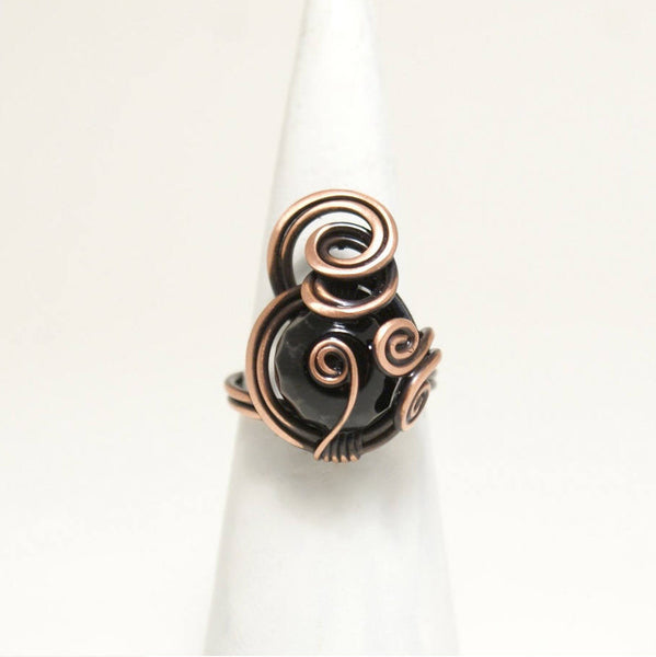 Handmade Black Onyx Wire Copper Ring