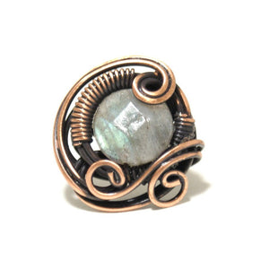 Handmade Labradorite Copper Wire Wrapped Ring - Babazen