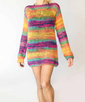 Handmade Angora Sweater Dress Rainbow Sweater Tunic - Babazen
