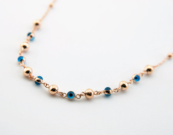 Handmade Evil Eye Necklace, Rose Gold Plated Sterling Silver
