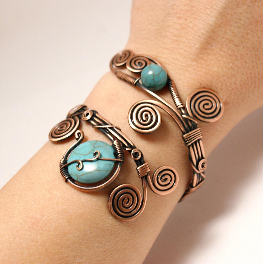 Handmade Wire Wrapped Turquoise Cuff Bracelet - Babazen