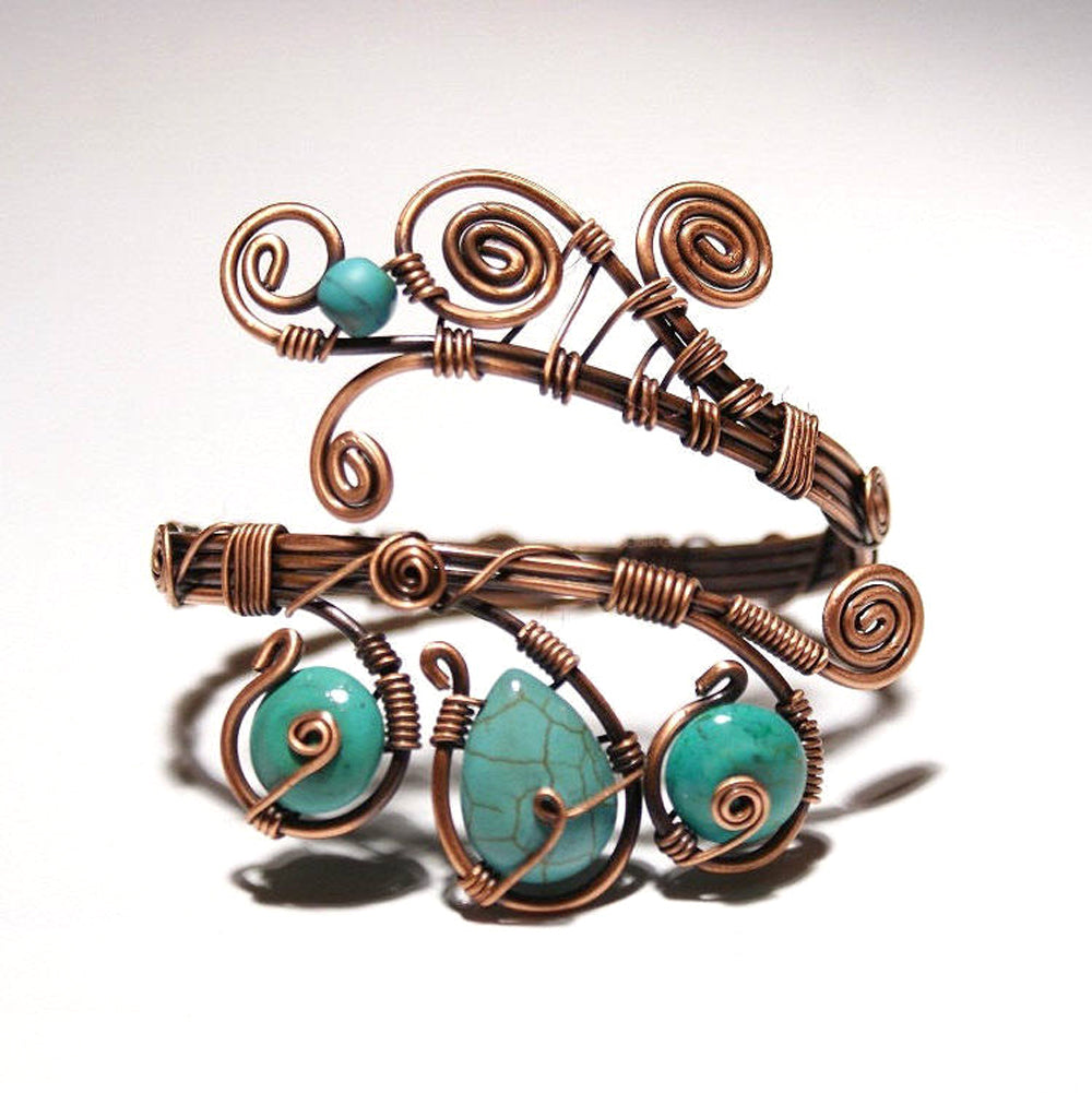 Handmade-Wire-Wrapped-Turquoise-Cuff-Bracelet thumbnail 8