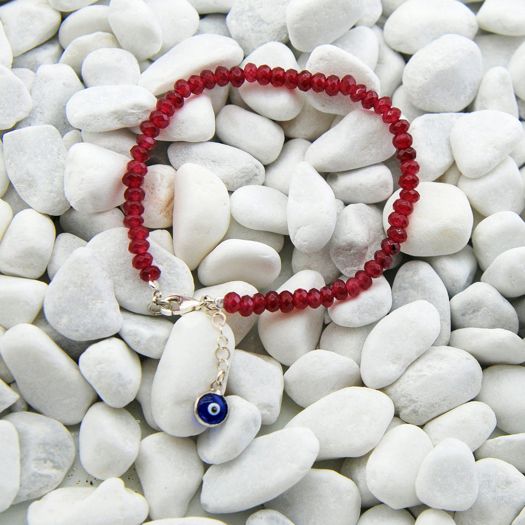 Handmade Red Jade Stacking Bracelet Evil Eye Charm - Babazen