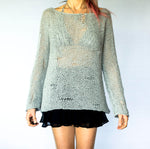 Handmade Grey Knitwear Cozy Jumper Chunky Sweater - Babazen