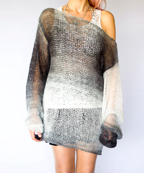 Handmade Mohair Sweater Cozy See Through Knit Top