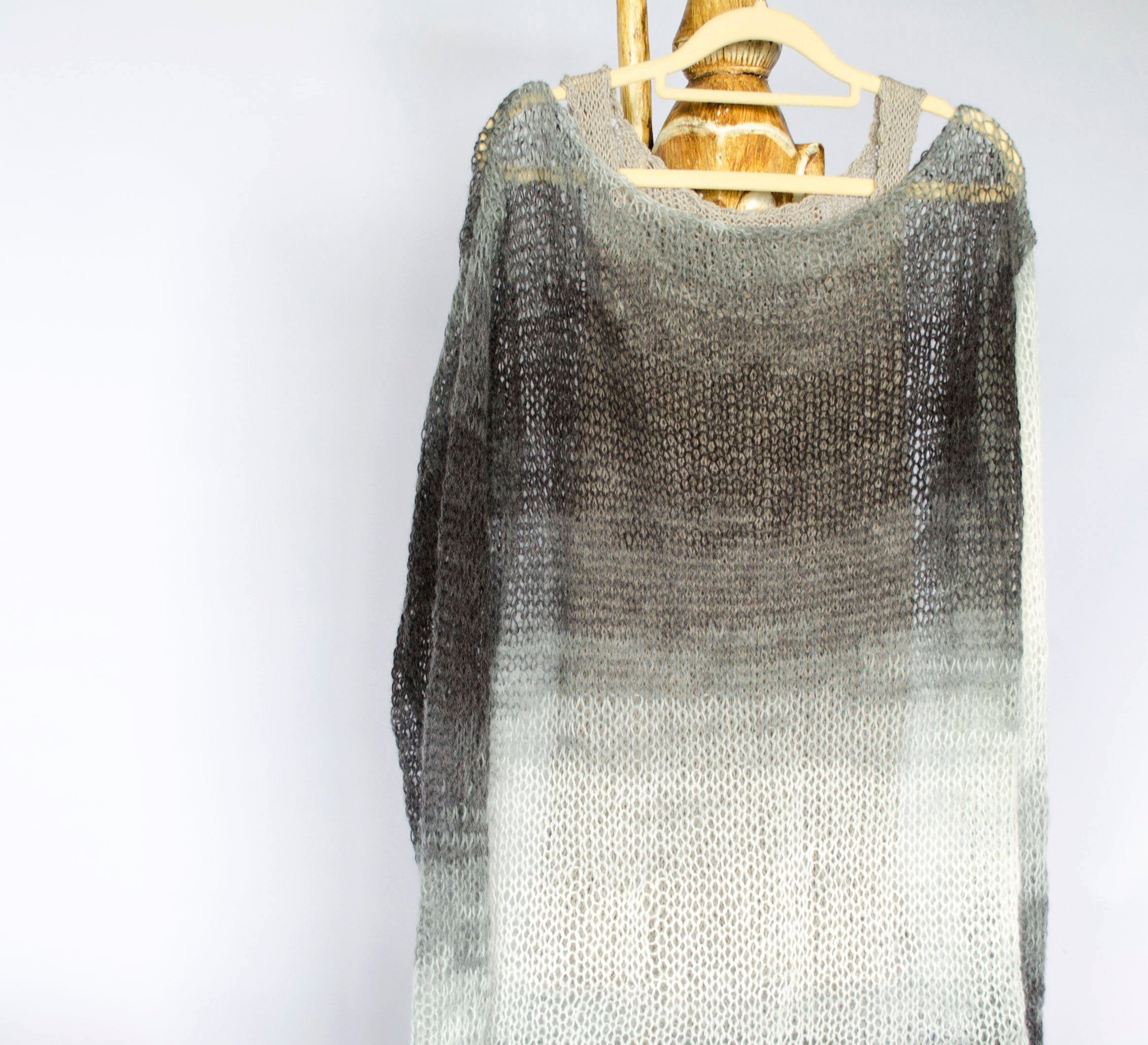 Handmade Mohair Sweater Cozy See Through Knit Top - Babazen