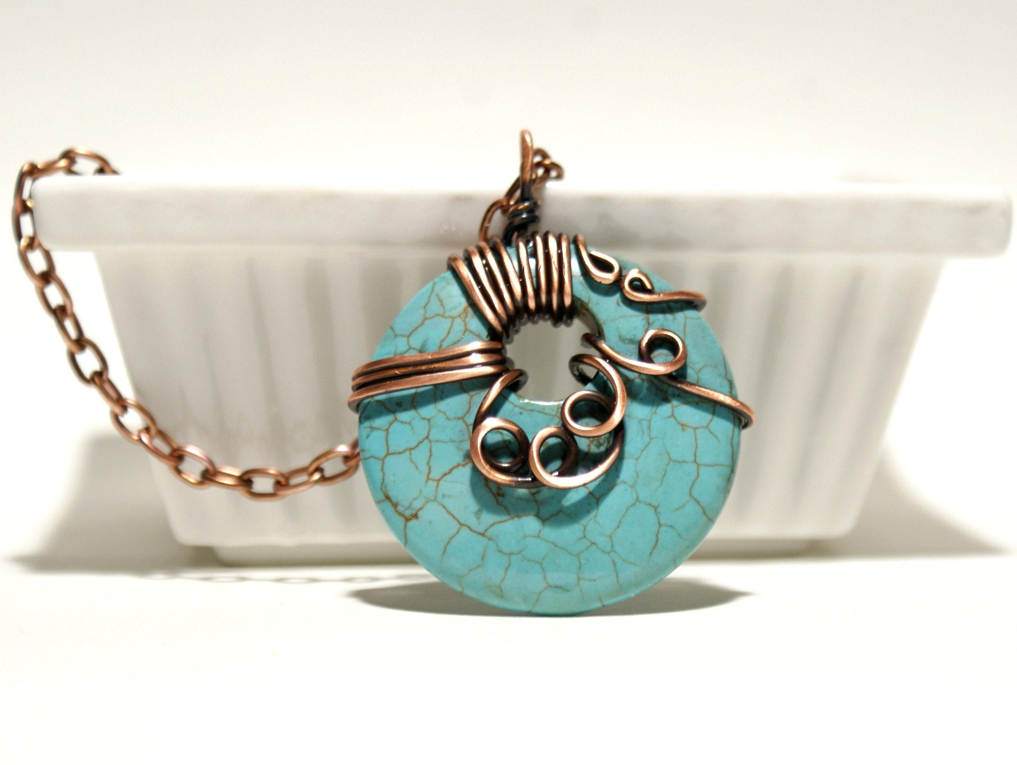 Handmade Wire Wrap Turquoise Pendant Necklace - Babazen