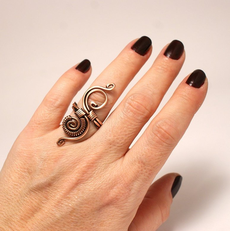 Handmade Wire Wrapped Adjustable Boho Ring - Babazen