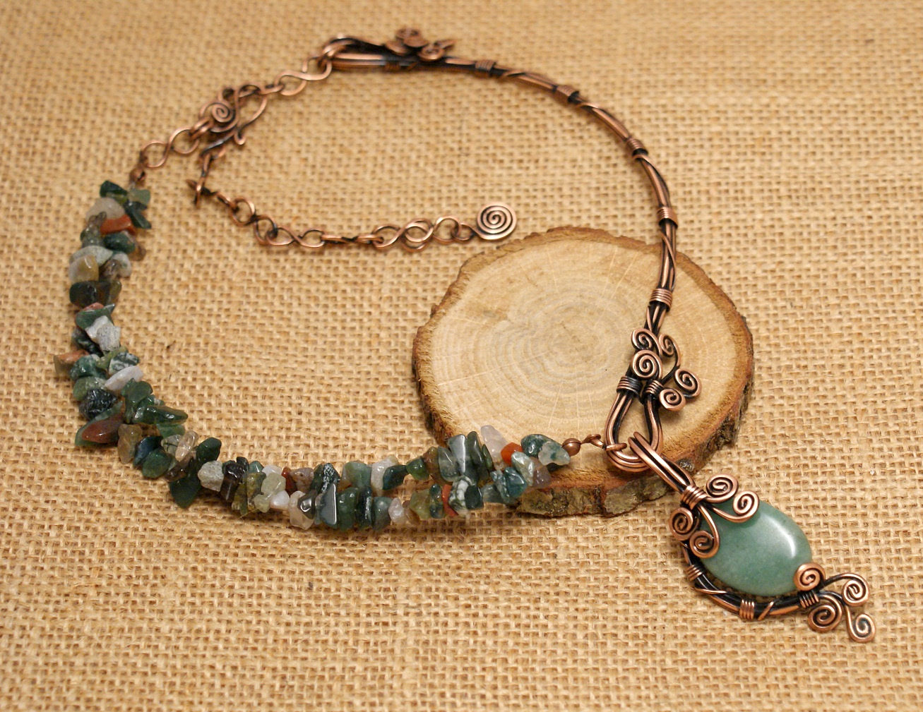 Handmade Aventurine Necklace Wire Wrapped - Babazen