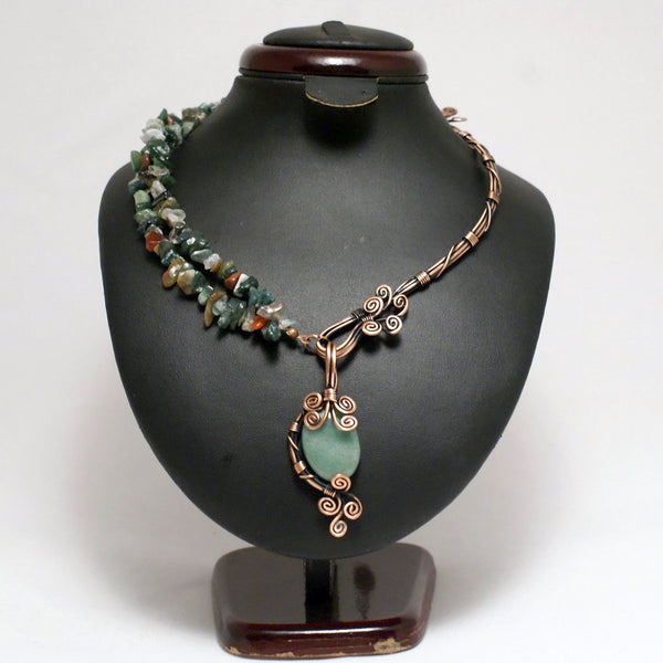 Handmade Aventurine Necklace Wire Wrapped