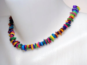 Handmade Colorful Mother of Pearl Necklace - Babazen