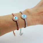 Handmade Evil Eye Bracelet, Mother of Pearl, Zirconia - Babazen