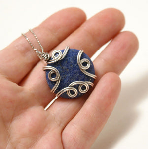 Handmade Wire Wrapped Lapis Lazuli Pendant Necklace - Babazen