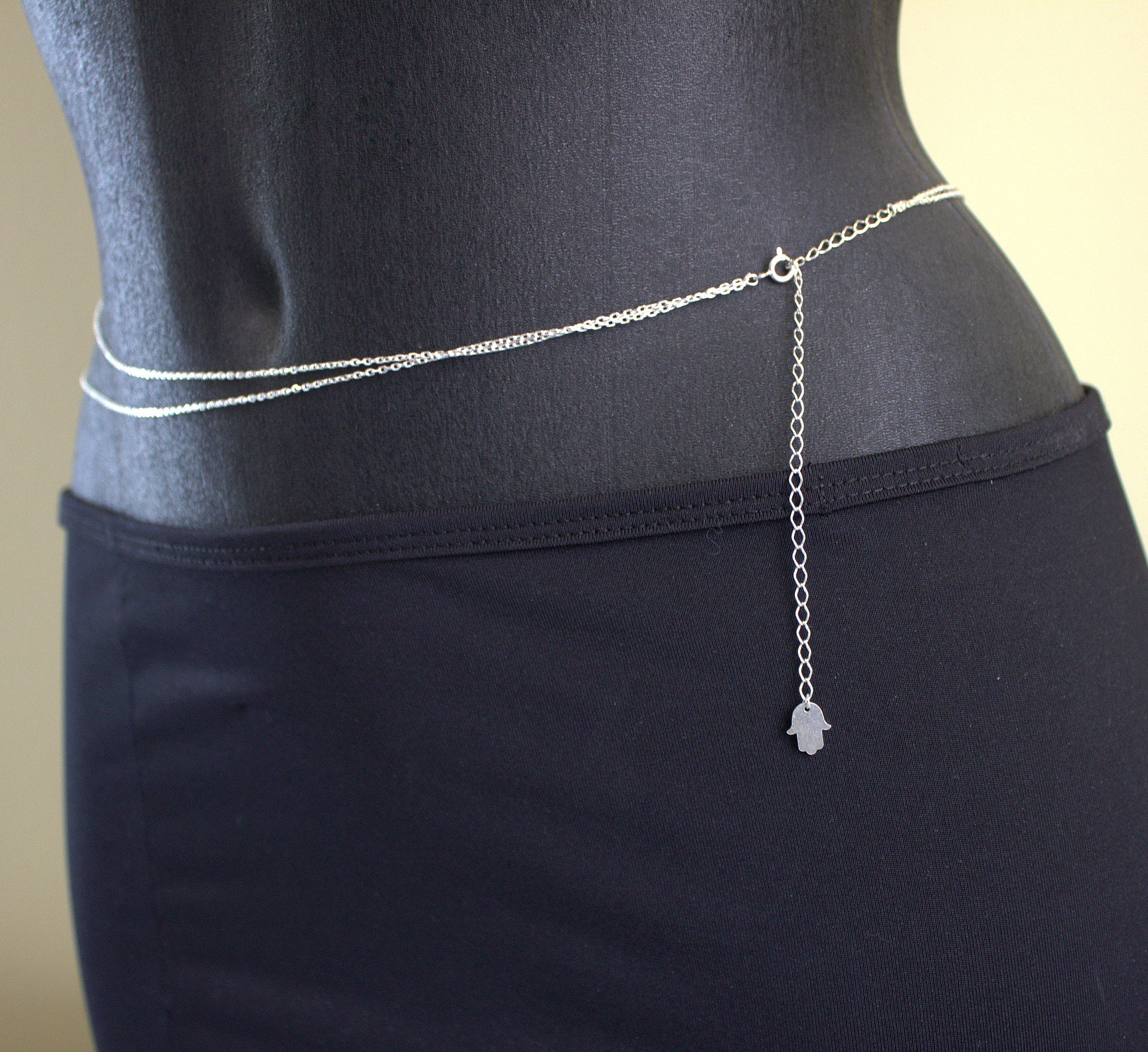 Handmade Silver Belly Chain with Hamsa Hand - Babazen