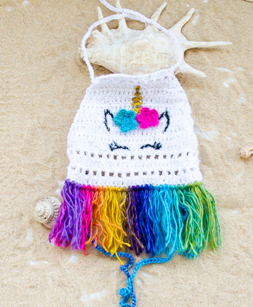 Handmade Crochet Unicorn White Tank with Rainbow Fringes - Babazen
