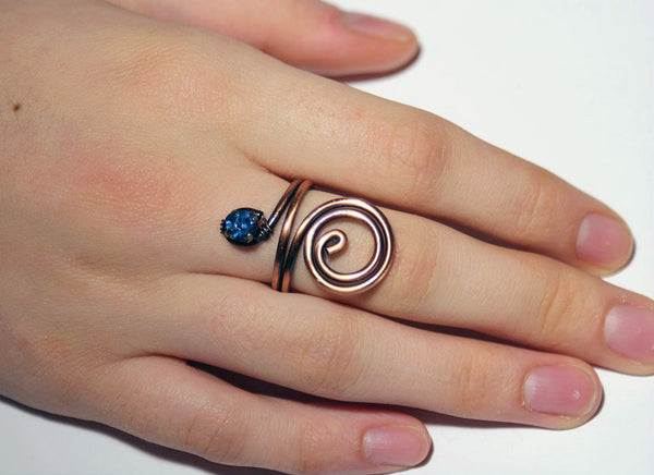 Handmade Navy Blue Crystal Copper Wire Wrapped Ring