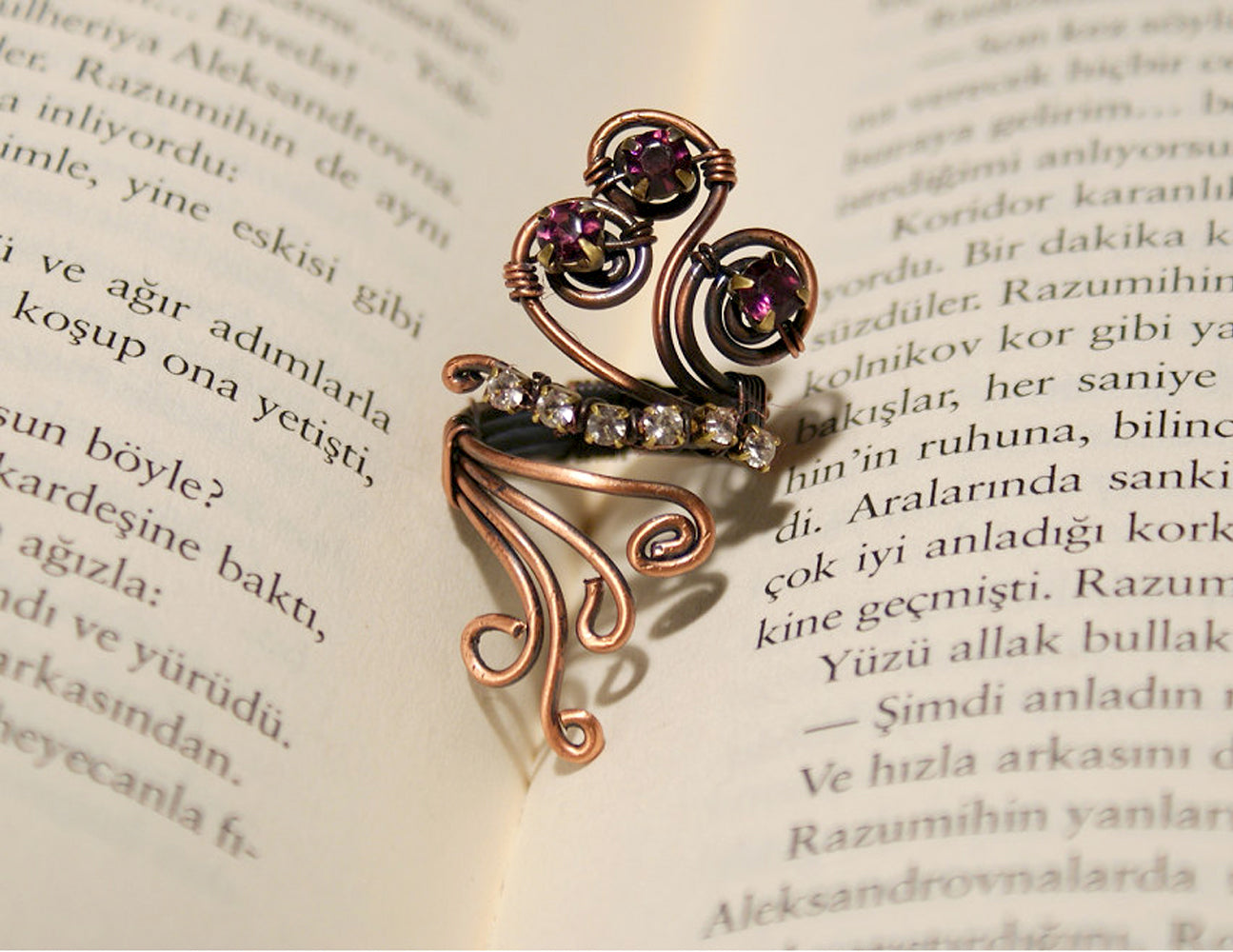 Handmade Purple and white crystal copper wire wrap ring - Babazen