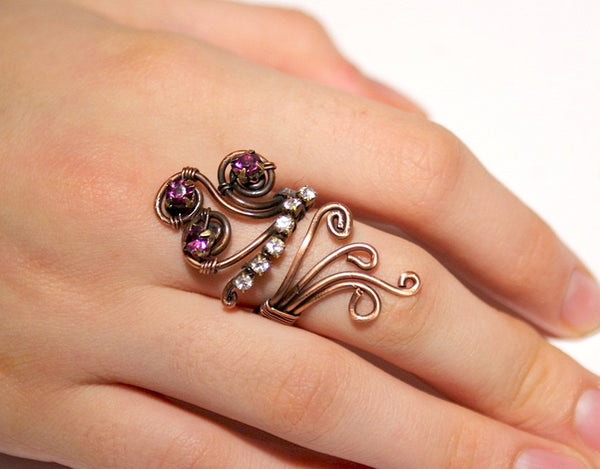 Handmade Purple and white crystal copper wire wrap ring