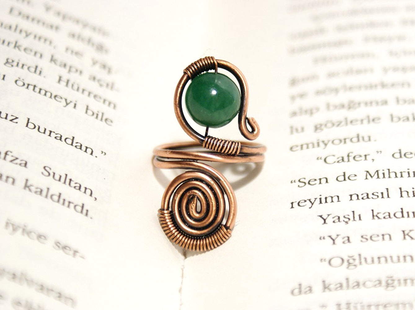 Handmade jade stone copper wire wrapped ring - Babazen