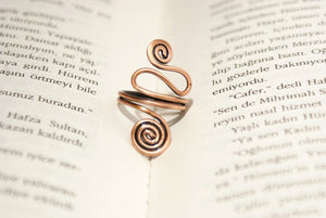 Handmade Copper Wire Wrapped Adjustable Boho Ring - Babazen