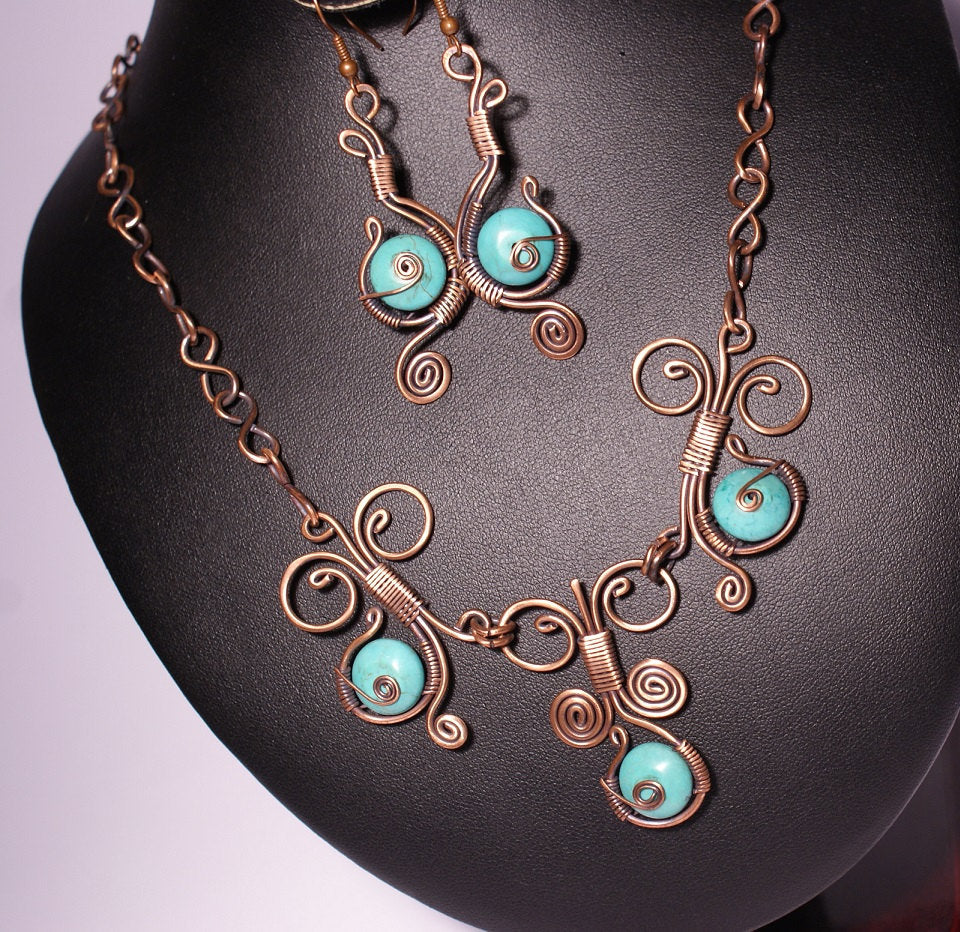 Handmade Wire Wrapped Turquoise Jewelry Set - Babazen