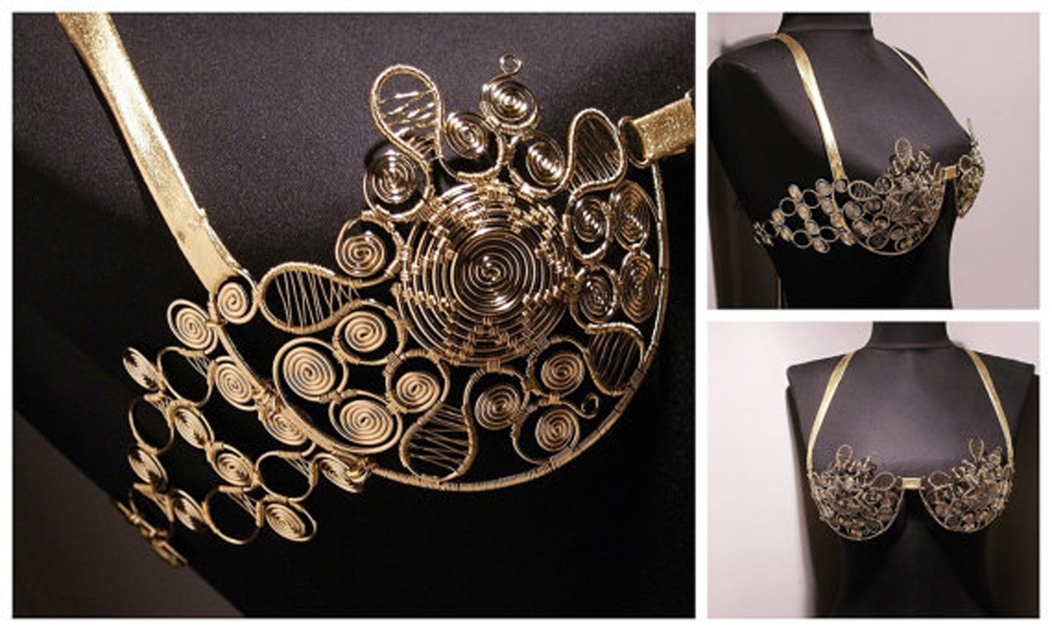 Handmade Metal Bra, Wire Wrapped Metal Goddess Bra - Babazen