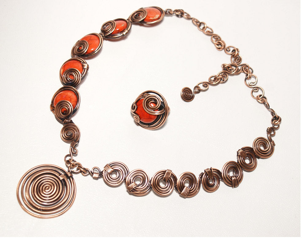 Handmade wire wrapped red jewelry set - Babazen