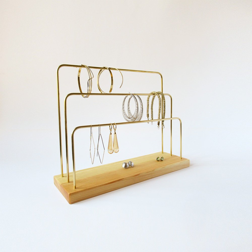 Handmade Wood and Brass Jewelry Stand, Natural, 3 bars - Babazen