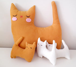 Handmade Plush Animal Doll nursery decor pillow, Cat Family - Babazen
