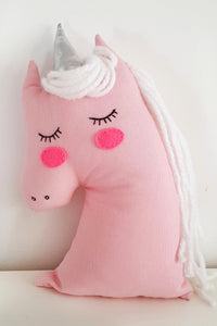 Handmade Plush Animal Doll nursery decor pillow, Pink Unicorn - Babazen
