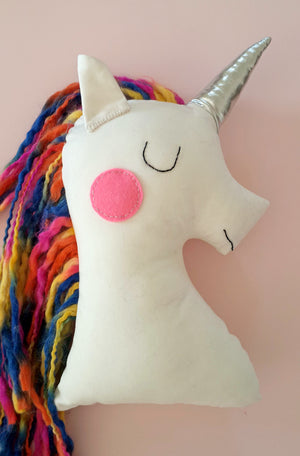 Handmade Plush Animal Doll nursery decor pillow, Rainbow Unicorn Doll - Babazen