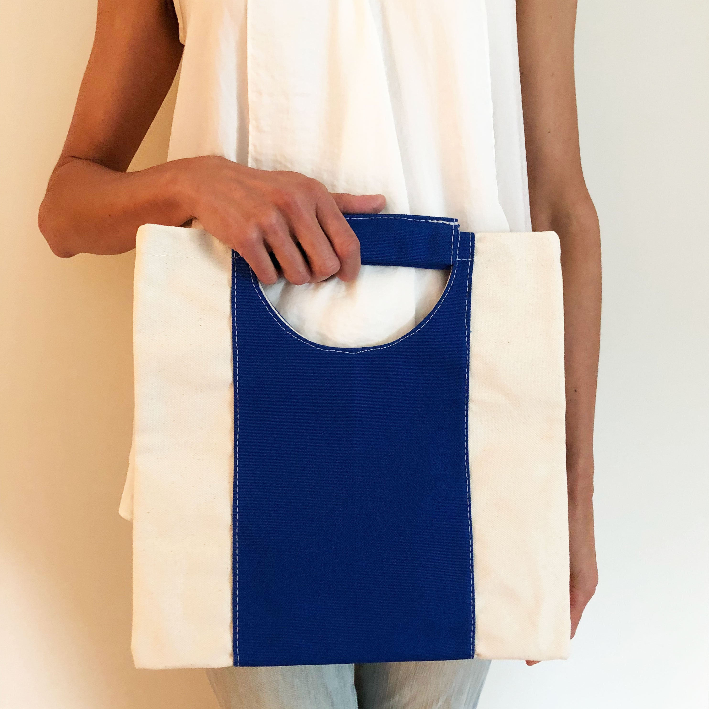The Union Foldover Clutch: Canvas Blue Stripe
