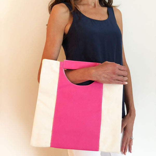The Union Foldover Clutch: Canvas Pink Stripe