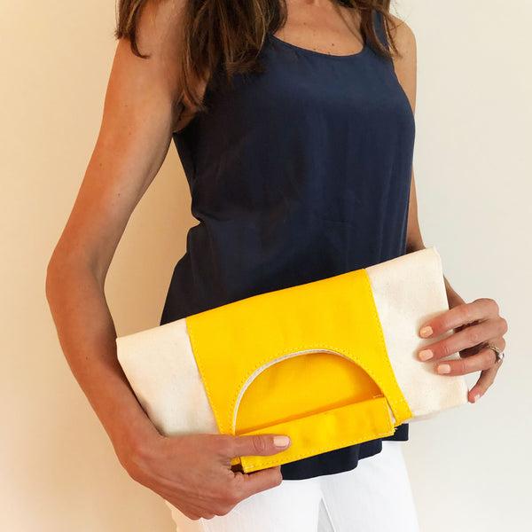 The Union Foldover Clutch: Canvas Yellow Stripe