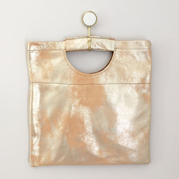 The Union Foldover Clutch: Metallic Leather