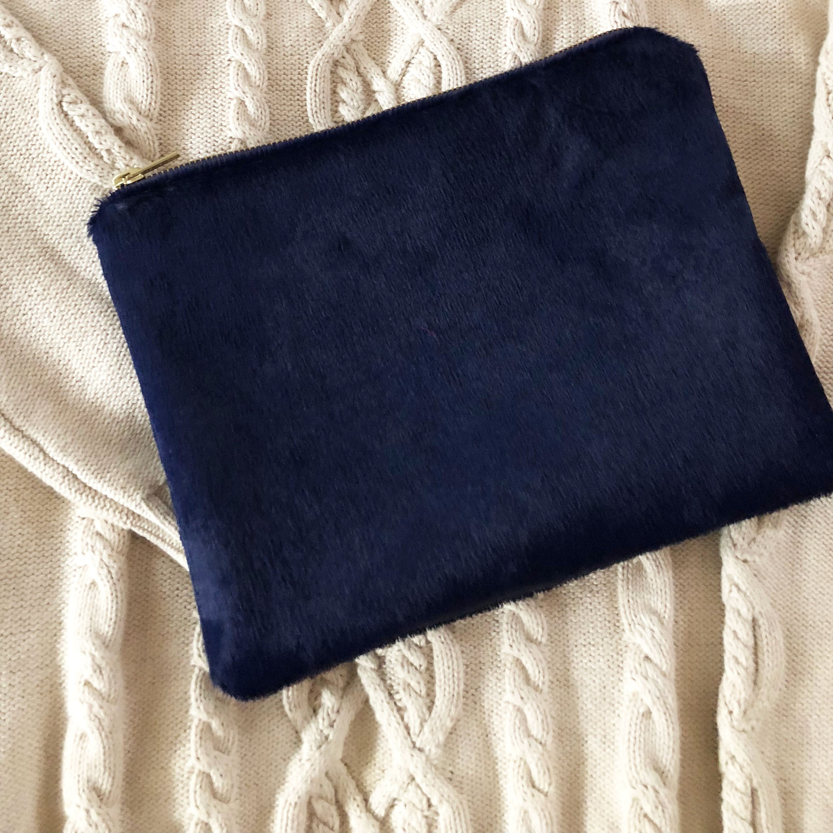 Navy Faux Fur Clutch
