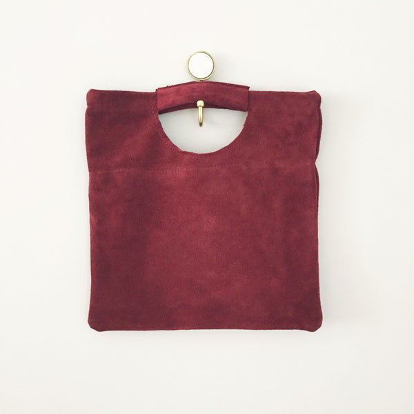 The Union Foldover Clutch: Deep Red Suede