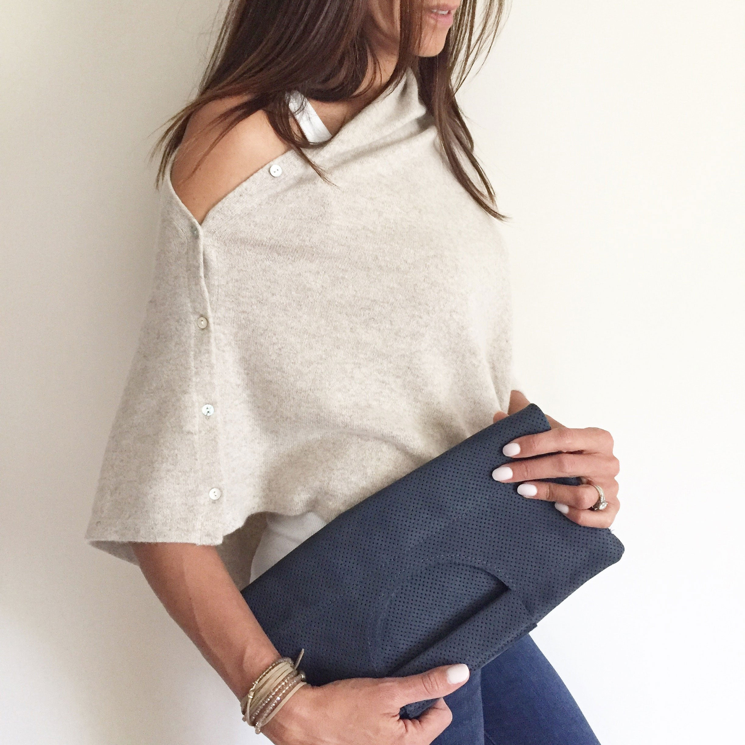 The Union Foldover Clutch: Navy Perforated