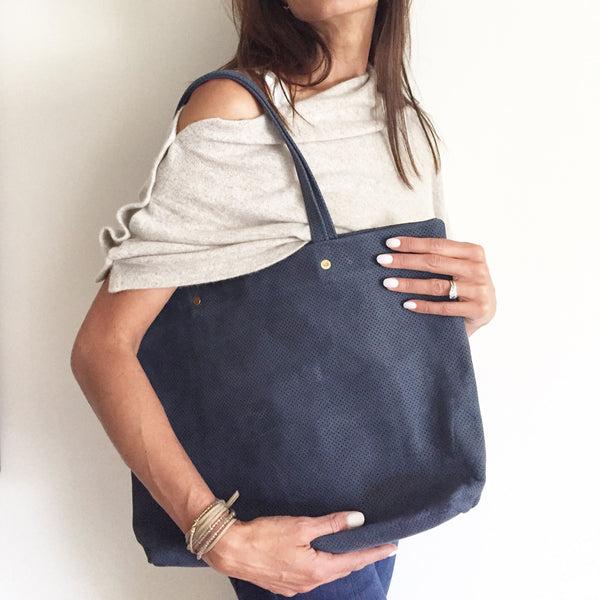 The Waverly Tote: Navy Perforated