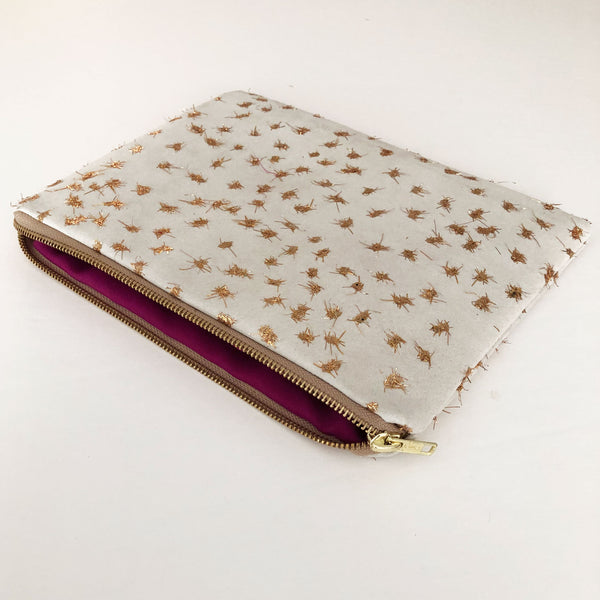 White Suede & Gold Clutch