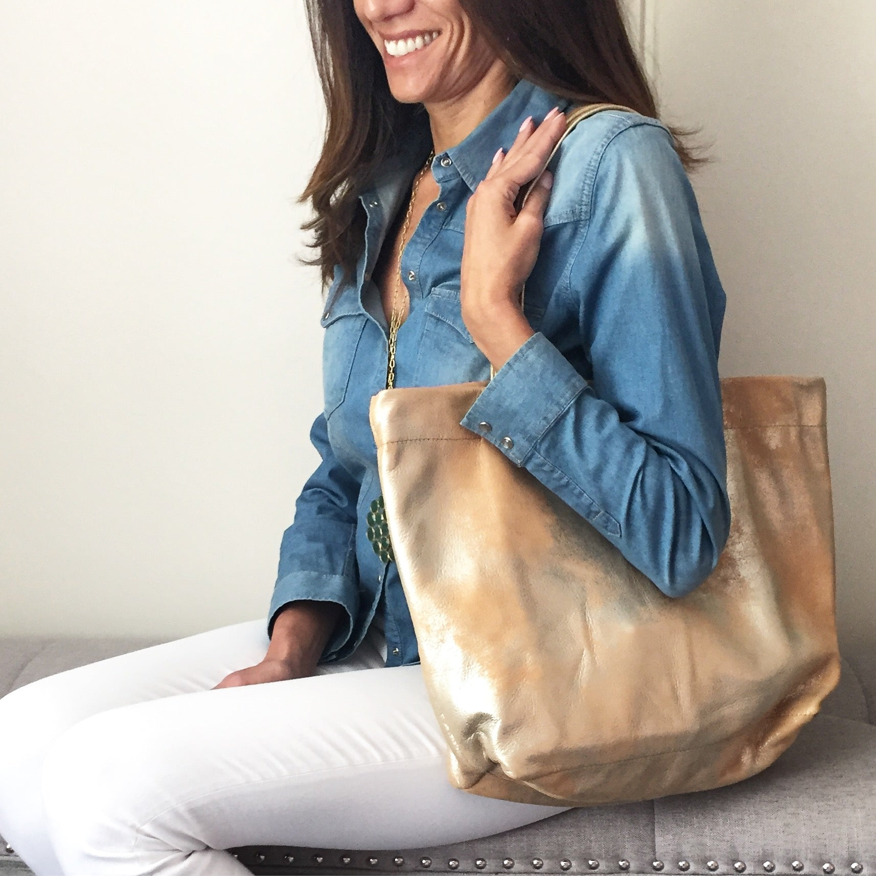 The Waverly Tote: Metallic Leather