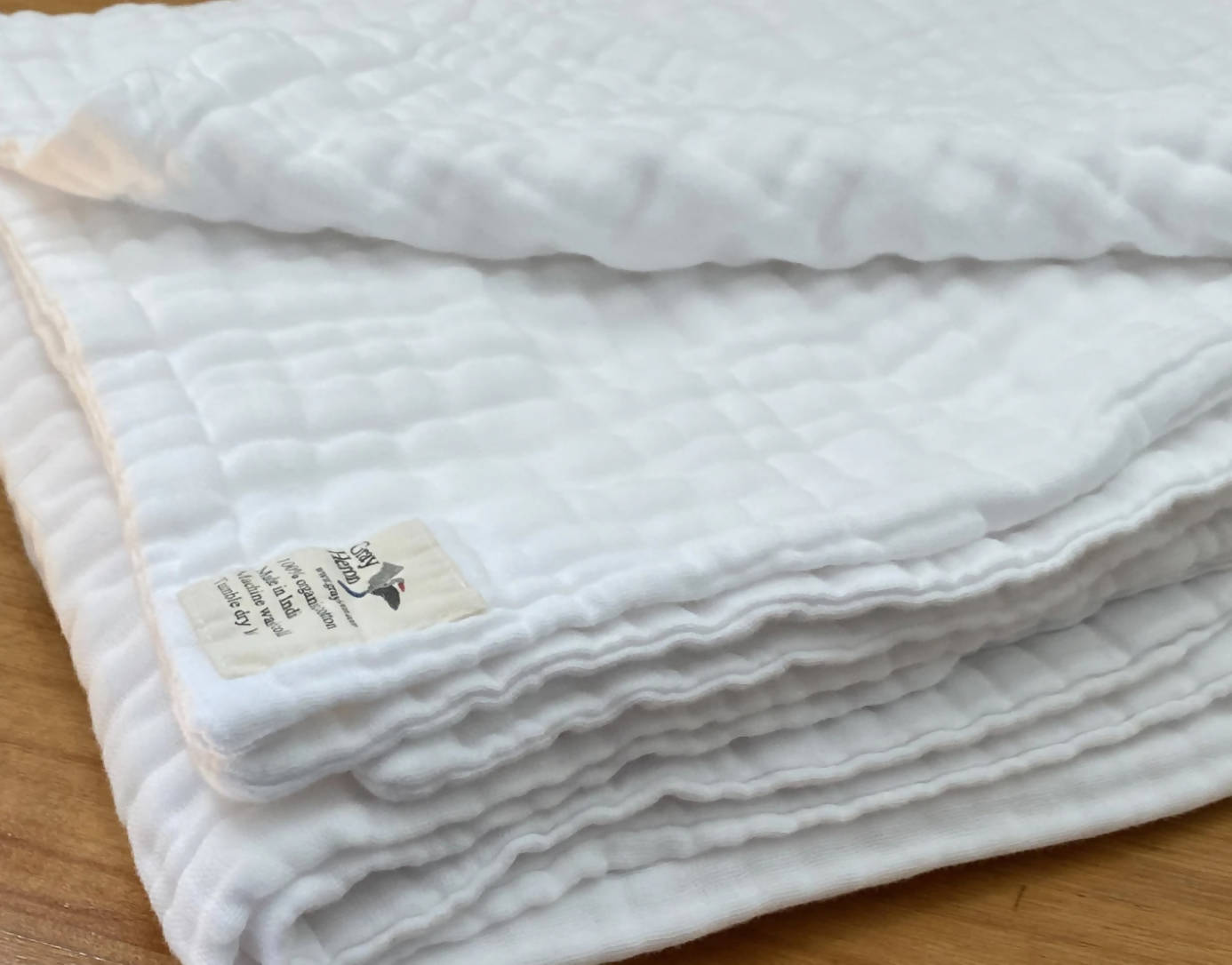 8 Layer Organic Cotton Muslin Blanket in Snow White
