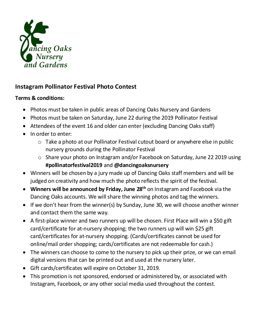 Pollinator Festival Photo Contest Terms & Conditions - Dancing Oaks Nursery and Gardens