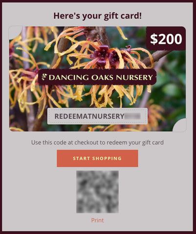 Gift Card ~ Digital Gift Card for At-Nursery Purchases Only ~ Dancing Oaks Nursery